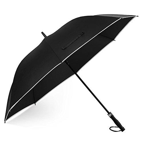 """Paraguas EECOO - Paraguas Antiviento, Paraguas Super Grande 62\""""con Apertura Automática, Paraguas Impermeable con Raya Reflectante para la Seguridad, Negro"""