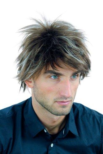 WIG ME UP – Perücke Herrenperücke Männer kurz jugendlich Braun mit blonden Strähnen gesträhnt wild gestyled WL-2175-10H303