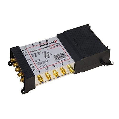 PremiumX PXMS-5/8 PQ Multischalter Quad tauglich 5-8 Multiswitch mit Netzteil 1x SAT für 8 Teilnehmer HDTV 4K