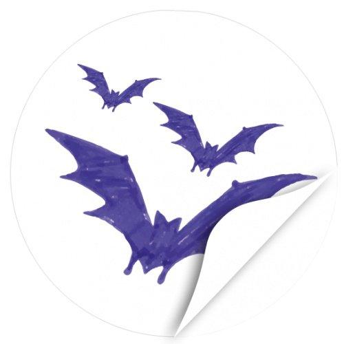 Halloween Dekoration/Aufkleber/Sticker/48 Stück/3 blaue Fledermäuse, gezeichnet zum Kleben/Dekorieren/Selbstklebend/Rund, 4cm (Dekorieren Für Halloween Ideen Sie Office)