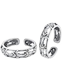 Peora Women's Sterling-Silver Floral Fusion Toe Rings(PF17TR06, Silver, Free Size)