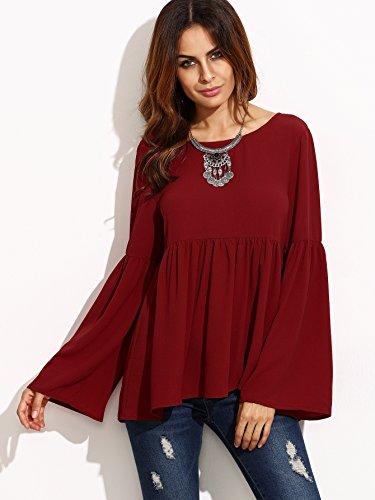 Donne calde di vendita allentato Red Coat Folds Horn a maniche lunghe T-shirt , wine red , s