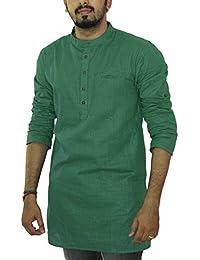 Jay Fashions Men's Cotton Kurta(teal Green)