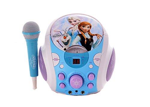 Radiocasete, aparato de karaoke infantil con microfono, CD+G, CC y grafismos con los personajes Anna, Elsa y Olaf (Frozen)