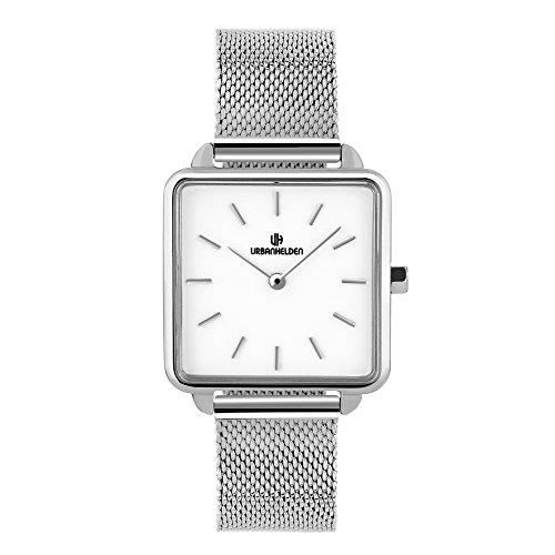 URBANHELDEN Armbanduhr Madison mit Mesharmband - Damenuhr Edelstahl, Mineralglas, Quarzwerk, 28,5 mm quadratisch - Retro Damen Uhr - Metall Armband in Silber