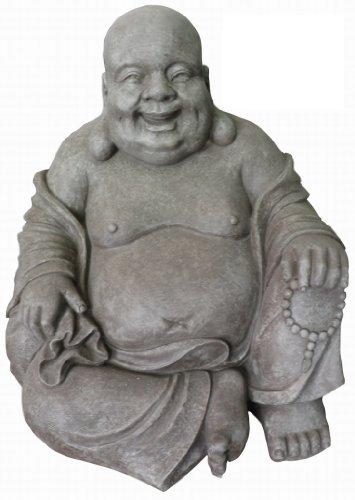 Stone-Lite Figura de Buda Sentado riendo - para casa y Jardín - Altura 40 cm - Gris