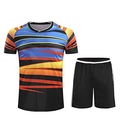 Kuncg Kurzarm Badminton Kleidung Tischtennis Kleidung Sport Anzüge Freizeitkleidung Für Herren und Jungen Dunkle Streifen XL