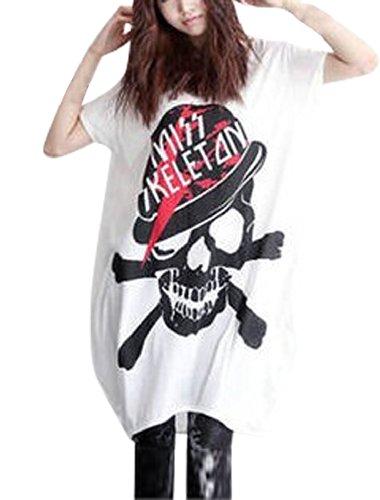 allegra-k-ladies-skull-letters-printed-seam-pockets-scoop-neck-blouse-white-xl