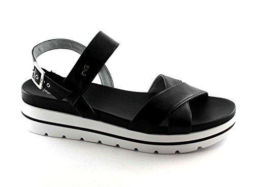 BLACK GARDENS 17801 Schwarze Frauen Schuhe Plateausandalen aus Leder Schnalle Nero