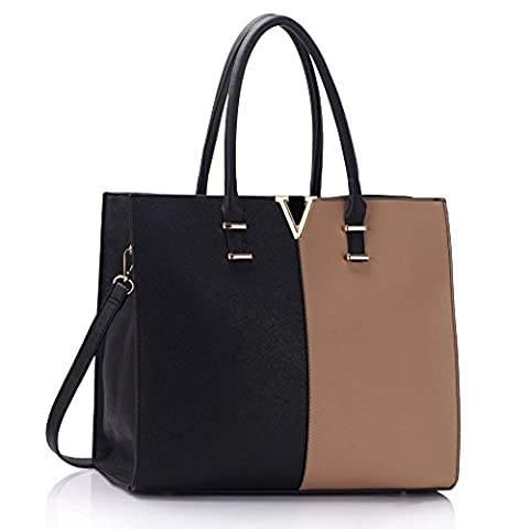 Ladies Large Fashion Designer Celebrity Tote Bags Women's Quality Hot Selling Trendy Handbags CWS00319B (319C Black/Nude