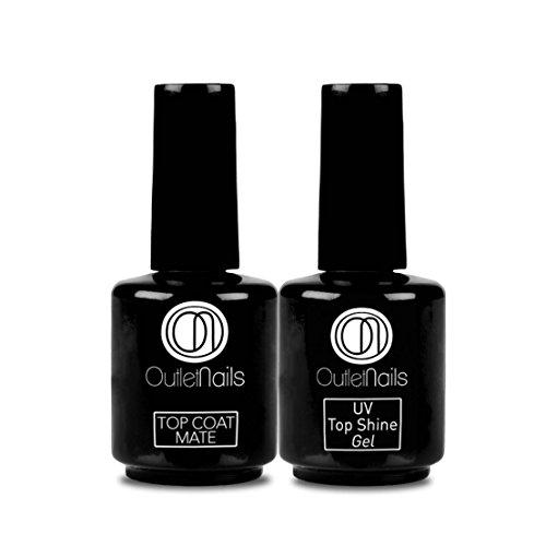 UV Top Shine Gel 15ml + UV Top Coat Mate 15ml uñas