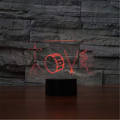 Crjzty 7 Farbe Led Nachtlichter Künstlerische Liebe Trommeln Form 3D Tischlampe Kinder Touch Musikinstrumente Usb Romantische Leuchte Dekor
