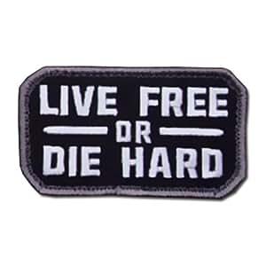 ÉCUSSON OU PATCH LIVE FREE OR DIE HARD SWAT NOIR ET BLANC MSM MSM-P-074-SWAT / KZA-E-L-687 MIL SPEC MONKEY AIRSOFT