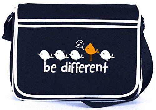 Shirtstreet24, Be Different, Retro Messenger Bag Kuriertasche Umhängetasche Navy