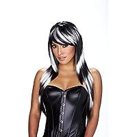 Pleasure Wigs Women's Stefani Wigs, One Size, White/ Black