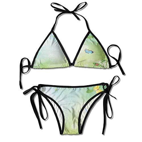Bikini Swimsuit 2 Pieces Set,Ladybugs and Butterflies Transformation Sexy Bikini Butterfly Thong Sandal