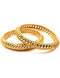Royal Looking Beautiful Gold Bangles With Detailed Unique Design For Women And Girls (CF161)