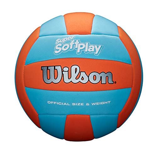Wilson Unisex-Adult SUPER Soft Play VB ORBLU Volleyball, ORANGE/Blue, Official