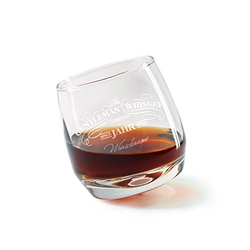 Herz & Heim® Rocking Whisky Glas - Gentleman Whiskey - mit Gravur des Namen und Geburtsjahr