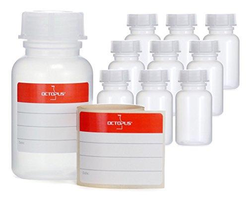 10x 100 ml Weithalsflaschen aus LDPE mit Schraubverschluß, leere Chemiekalienflaschen, Laborflaschen mit Deckel als Aufbewahrungsbehälter für Labor, Küche oder Hobby