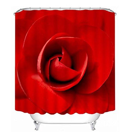 Duschvorhang 3D-Polyester wasserdicht Duschvorhänge Bad Persönlichkeit Rose Partition hängenden Vorhang (Größe: 180*180 cm).