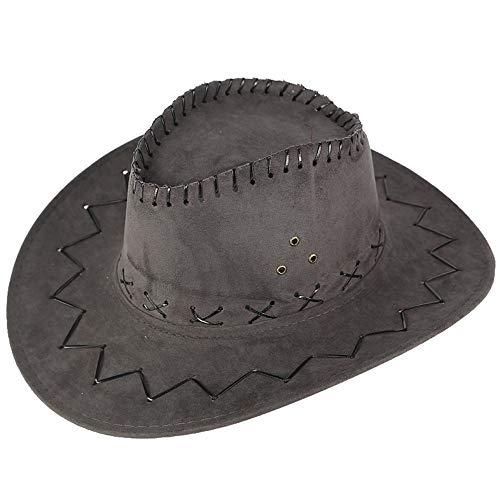 boyhut Kunstleder Cowboyhut Western Cowgirl Australien Texas Cowboyhüte Unisex Grau 1 Stücke ()