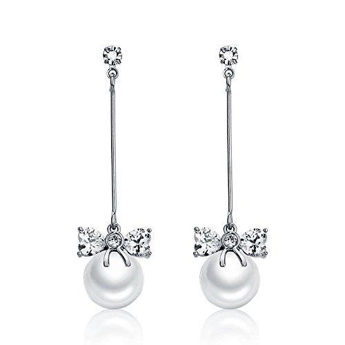 DUlijun Boucles d'oreilles longues femme papillon noeud perle pendentif bijoux Boucles d'oreilles Corée tempérament célébrité fashion silver
