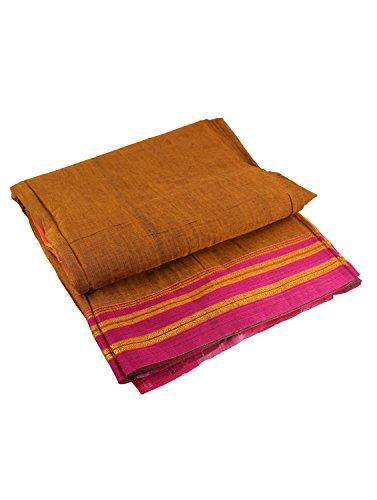 Women's Cottage Solid Nauvari Belgaum Catlon Silk Saree Free Size Mustard Color...