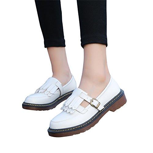 Smilun Chaussures Femme Bateau Frange Classic Boucle Bout Rond Blanc