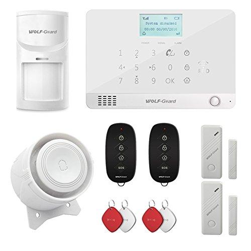 WOLF Guard MR1GSM schermo LCD sistema di allarme di sicurezza, auto-dial, controllo app, come con sensore di movimento, sensore per porte e finestre