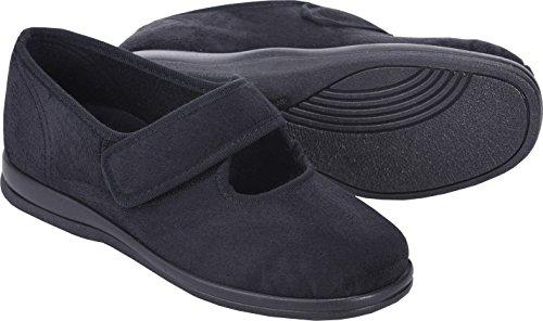 Cosyfeet Skye Schuhe - Besonders geräumig / Extra Roomy (breite Passform M+ Euro / 5E+ Width Fitting UK) - Schwarz, Mikrofaser - 40.5 (Extra Frauen Für Breite Schuhe)