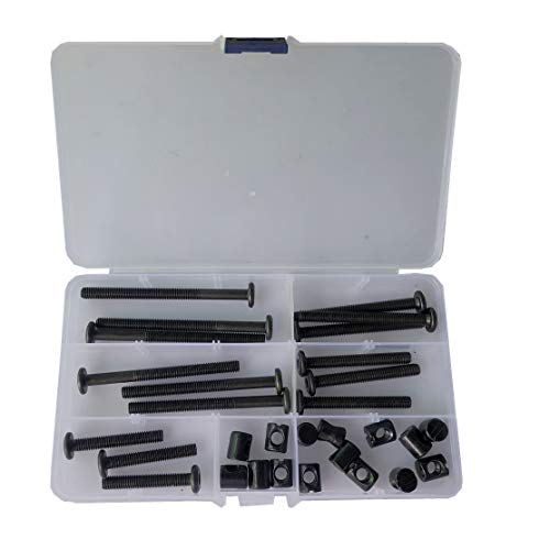 Ersatz-Set für Babybettchen, M6, Innensechskantkopfschraube und Zylindermutter, Schwarz M6x40/50/60/70/80mm schwarz