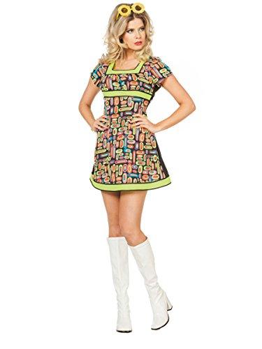 ,Karneval Klamotten' Kostüm Flower Power Dame Neon Popart Kleid Karneval Show Damenkostüm Größe 40