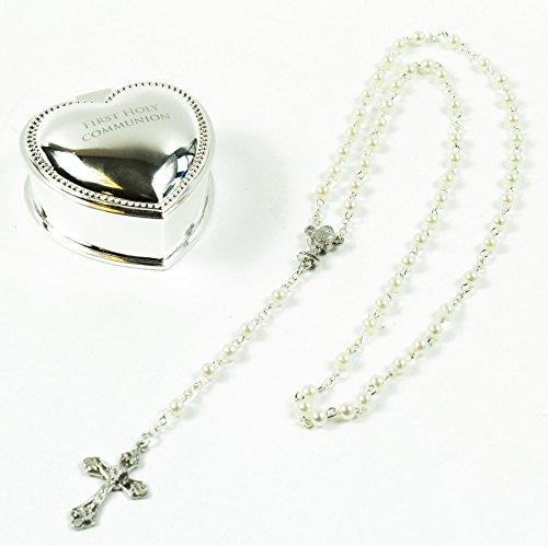 Erste 1. Heilige Kommunion Silber Herz Schmuckkästchen Rosenkranz Perlen Andenken Geschenke Banner-kuchen-deckel