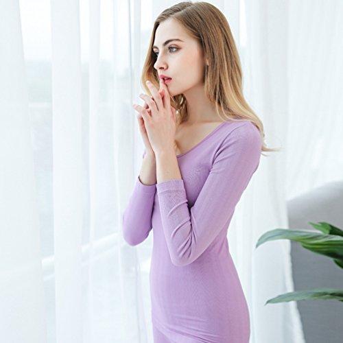 YAANCUN Donna Sexy Pizzo Traspirante Funzione Set (Camicia + Pantaloni) Thermo Intima Da Sci Senza Cuciture Con Elastan Viola chiaro