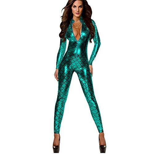 HGUIAZ Damen Catsuit Bodysuit Fisch Waage Muster Overall Vorderseite Reißverschluss Design Party Outfit Spielanzug Verein Tragen Schick Kostüm Erwachsene Halloween Cosplay, Green-L (Muster Kostüm Bodysuit)