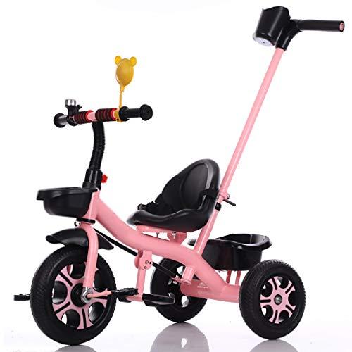NBgy Dreirad, Verstellbarer Handputter Für Kinder 3 In 1 Multifunktionsdreirad, 2-6 Jahre Altes Baby-Außenschaumrad Dreirad, 3 Farben, 70x55x46cm (Farbe : Rosa) (Flyer-rosa Radio)