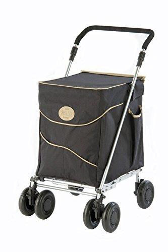 Sholley  Petite Deluxe Einkaufswagen und Gehhilfe im Schwartz und Beige