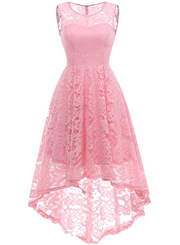 MuaDress MUA6006 Elegant Kleid aus Spitzen Damen Ärmellos Unregelmässig Cocktailkleider Party Ballkleid Rosa 2XL