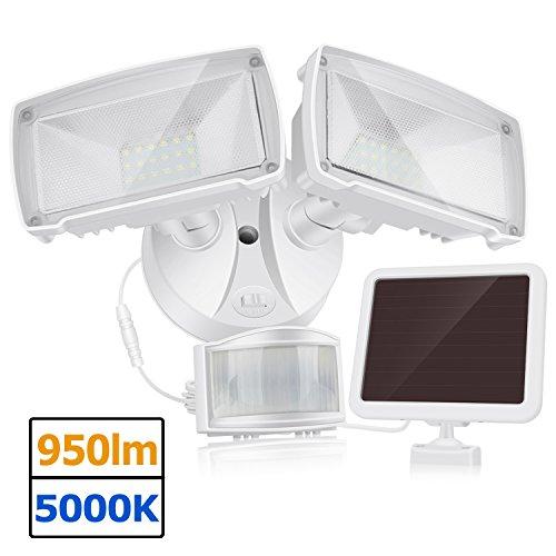 950LM Bewegung Sensor Solar Sicherheitslicht, 5000K Tageslicht, Doppelkopf Multi-Winkel justierbar, kompaktes modisches Design für Garage, Garten, unzureichender Sonnenschein - Sensor Garage Licht