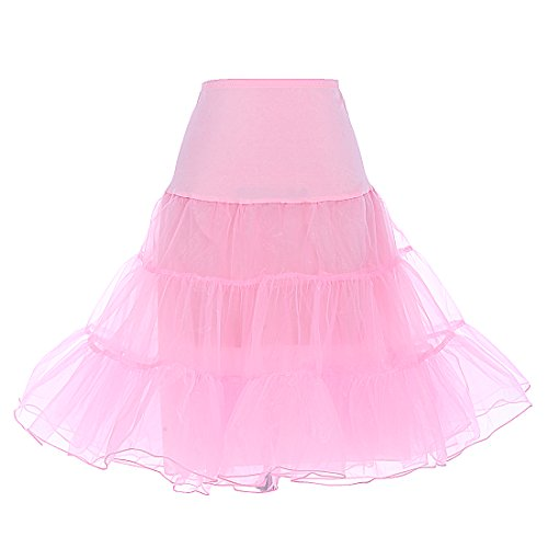 Dresstells 1950 Petticoat Reifrock Unterrock Petticoat Underskirt Crinoline für Rockabilly Kleid Pink M