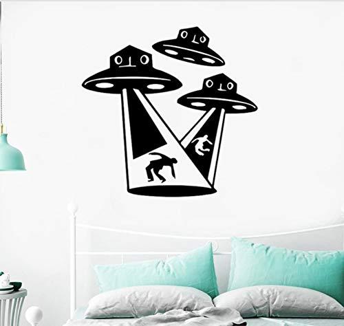 58X56cm Extranjeros OVNI Pegatinas de Pared Habitación de Niños Fantasía Sobrenatural Misterio Habitación de Niños Decoración de la Pared Espacio Exterior Arte Tatuajes de Pared Dormitorio
