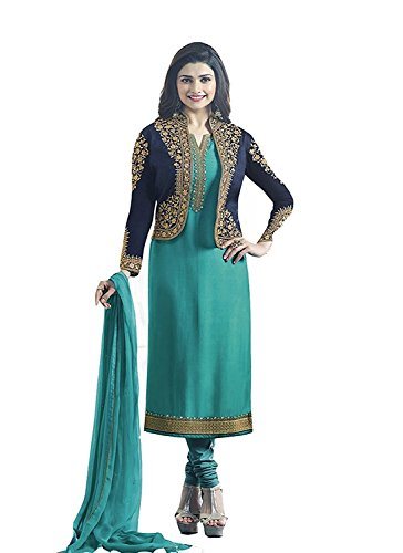 Vishal Fashion Women's Semi-Stitched Georgette Anarkali Salwar Suit (1607_Baby Blue_Free Size)
