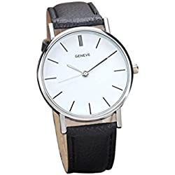 Familizo Unisex Retro Design Leather Band Analog Alloy Quartz Wrist Watch Black