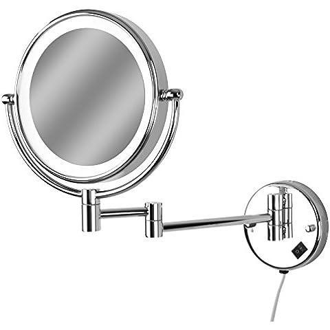 Aquamarin Specchio da trucco cosmetico ingranditore da parete con luce LED (10x)