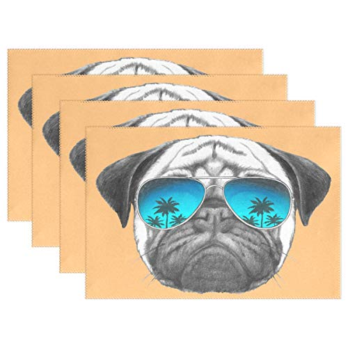 FFY Go Placemats Pug Dog with Sunglasses Place Mats Dining Table Mats Waterproof Non-Slip Nonstick Heat Resistant Christmas Decoration 4pcs