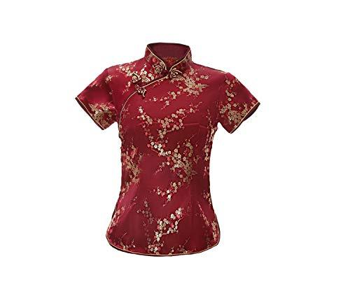 ACVIP Damen Pflaumenblüte Qipao Oberteile Stehkragen Kurzarm Chinesische Bluse Top(China 2XL/EU 42,Weinrot)