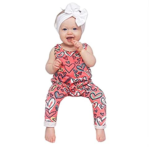 BZLine ® Baby Girls Sleeveless Romper Heart Printing Jumpsuit Outfits
