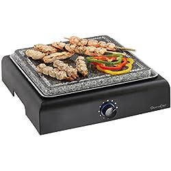 Barbecue électrique avec plaque en granite (Surface de cuisson de 25cm, pierrade, thermostat)