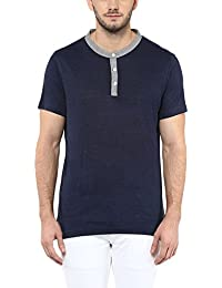 American Crew Men's Henley Half Sleeve Solid T-Shirt (Navy Blue)